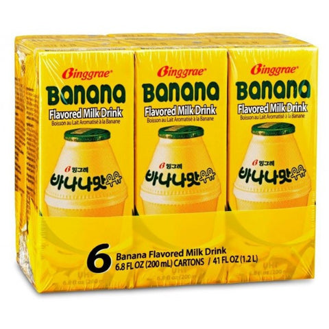 [Binggrae] Banana Flavored Milk drink/빙그레 바나나맛 우유 (6 pack)