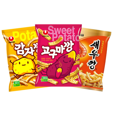 [Nongshim] Potato+Sweet Potato+Shrimp Snack Set/농심 감자깡(55g)+고구마깡(55g)+새우깡 (75g)