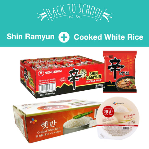 [Back to School] Shin Ramen + Cooked White Rice/신라면 (16ea/Box) + 햇반 (12ea/Box)