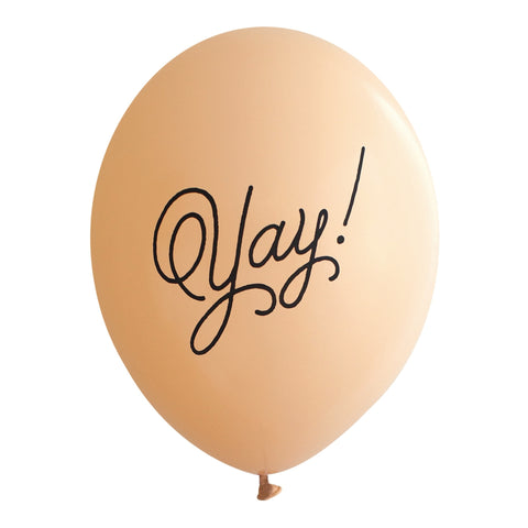 "Black ""Yay!"" on Blush Party Balloons (Pkg of 3)"