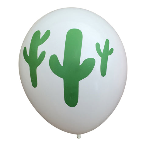 Cactus on White Party Balloons (Pkg of 3)
