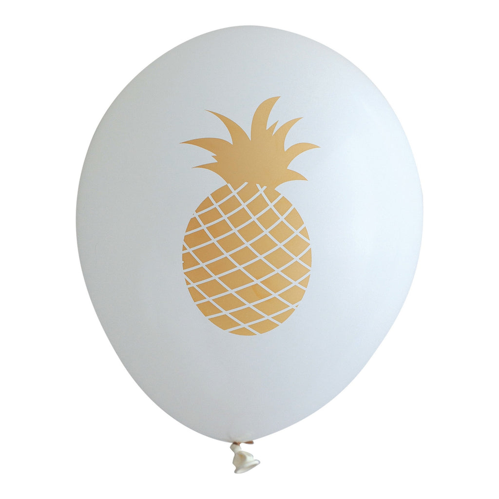 Pineapple on White Balloons (Pkg of 3)