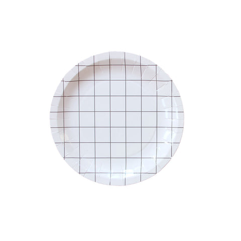 Black and White Grid Paper Plates