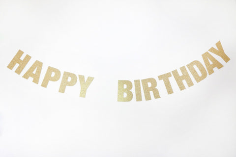Happy Birthday Gold Glitter Banner