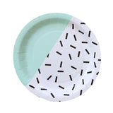 Mint, Black & White Sprinkles - Dinner Paper Plates