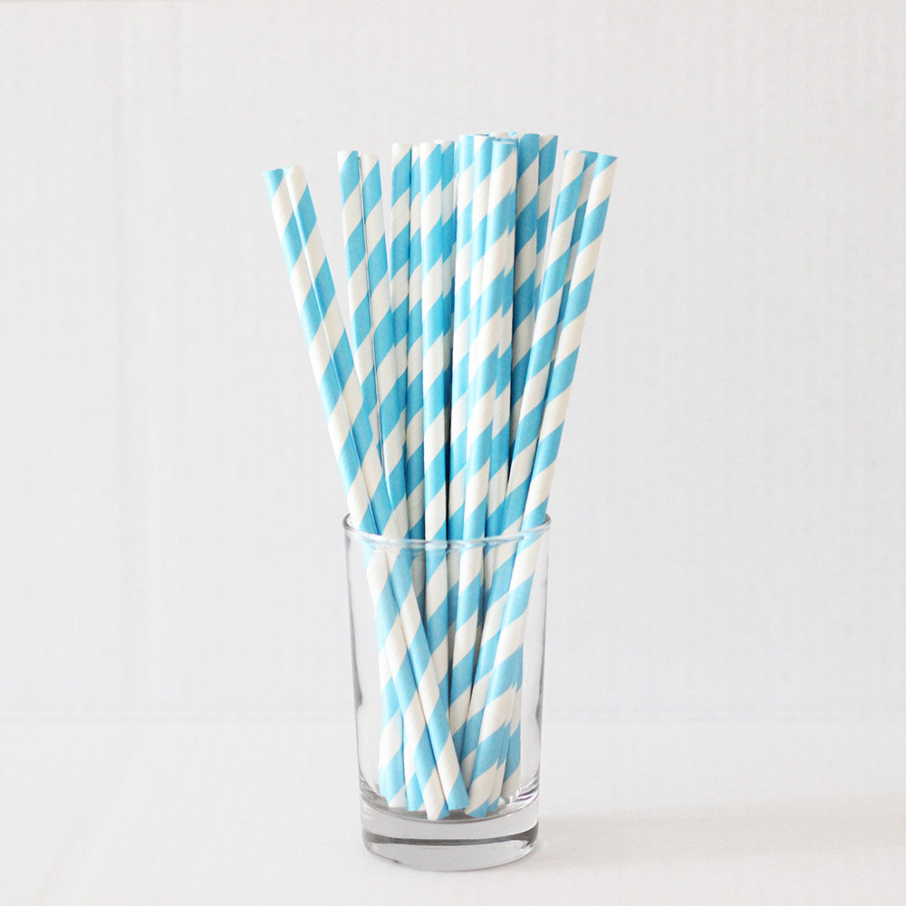 Blue Striped Straws (Set of 25)