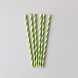 Kiwi Green Striped Straws (Set of 25)
