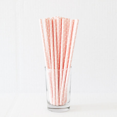 Baby Pink Polka Dots Straws (Set of 25)