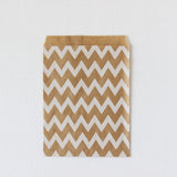 White Chevron Kraft Favor Bags (Set of 12)