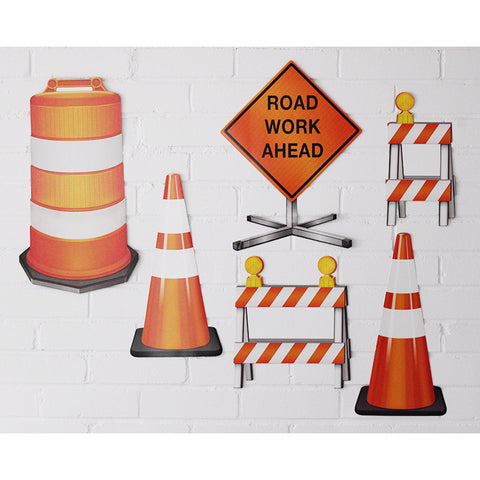 "Construction ""Road Work"" Wall Signs (Pkg of 6)"