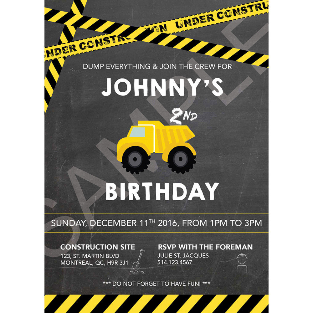 Construction Themed Party Invitation (Electronic)