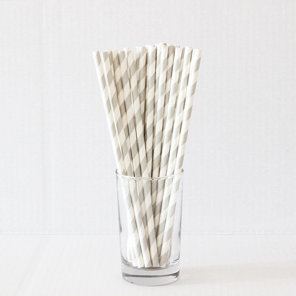Grey Striped Straws (Set of 25)