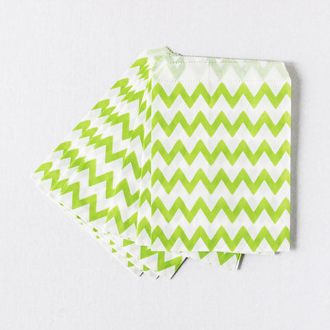 Kiwi Chevron Favor Bags (Set of 12)