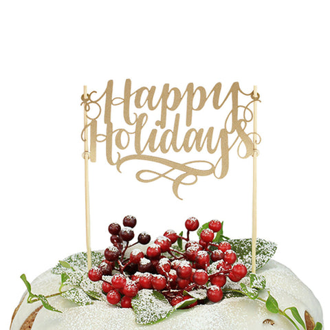 """Happy Holidays"" Paper Cake Topper"