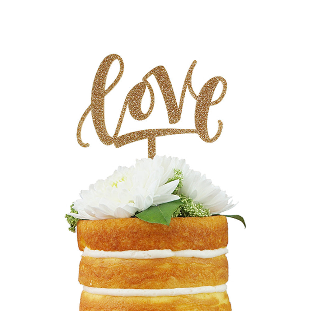 """Love"" Calligraphy Cake Topper - Gold Glitter"