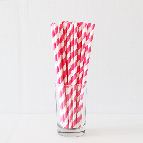 Bright Pink Striped Straws (Set of 25)