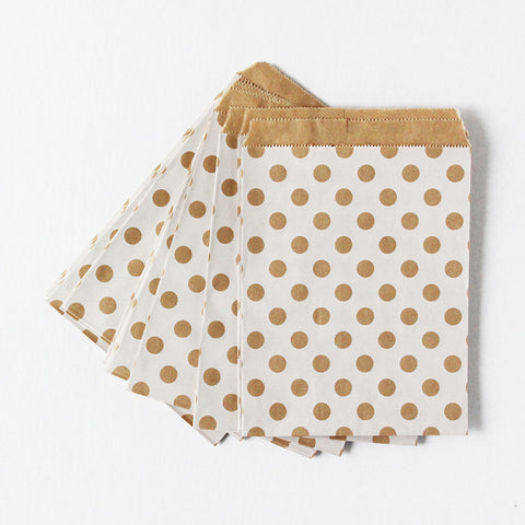 White Polka Dots Kraft Favor Bags (Set of 12)