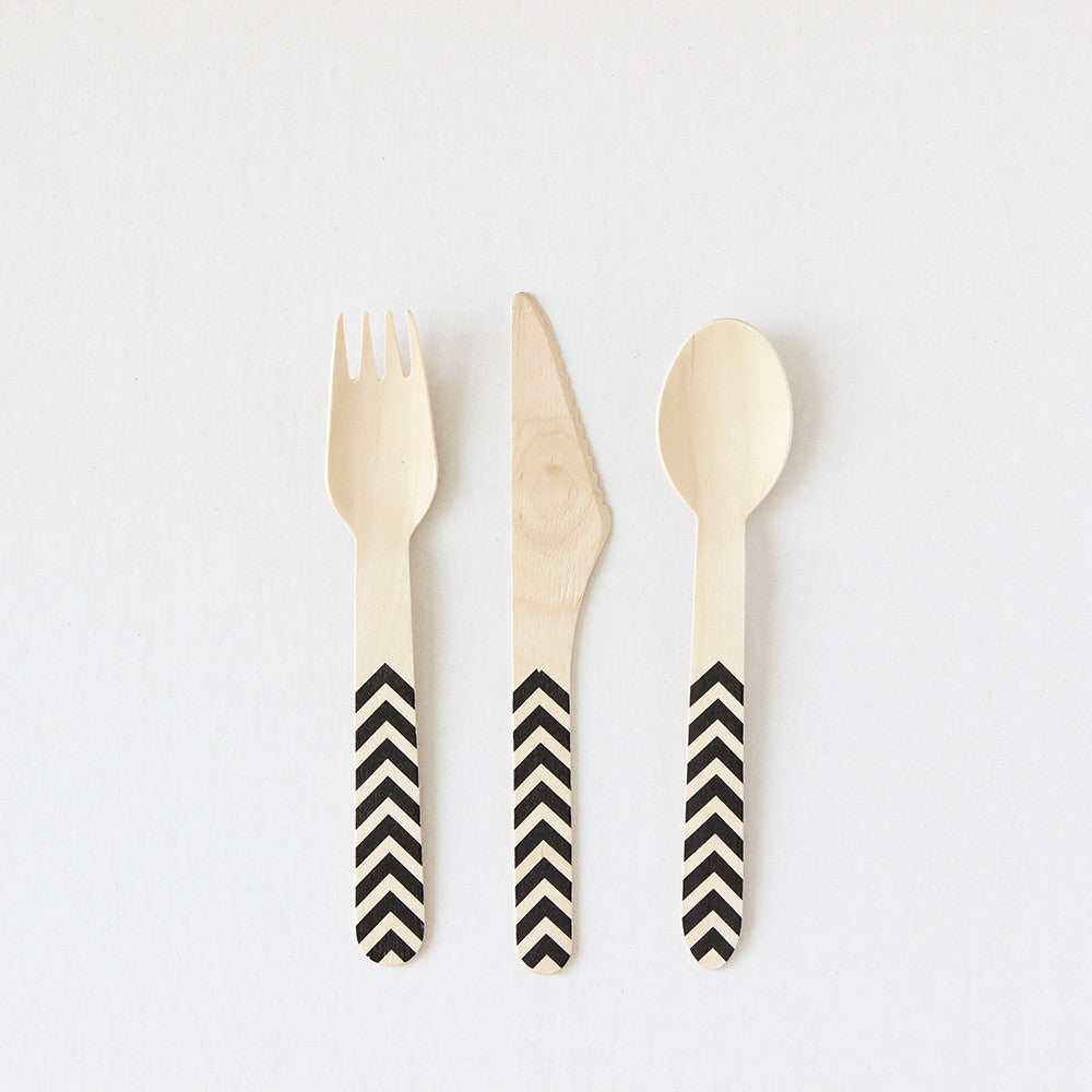 Black Chevron Wooden Cutlery (Set of 4)