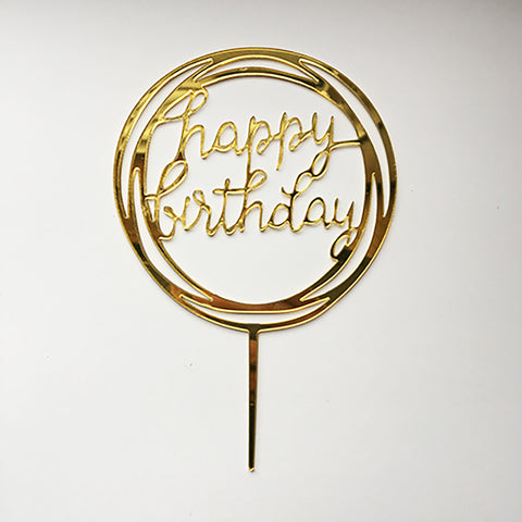 """Happy Birthday"" Acrylic Cake Topper"