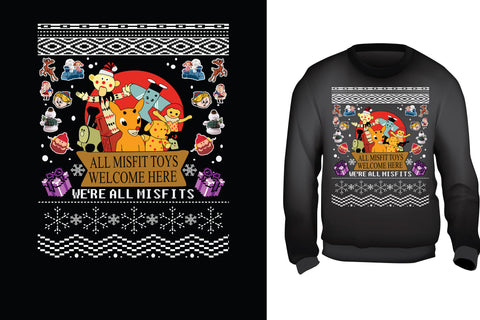 Red Alpha Ugly Christmas Sweater- Land of the Misfit toys