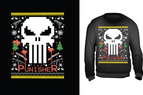 Red Alpha Ugly Christmas Sweater-Punisher Skull