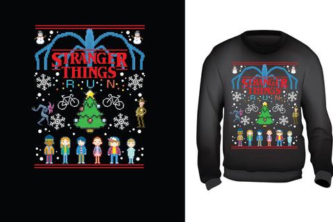 Red Alpha Ugly Christmas Sweater-Stranger Things