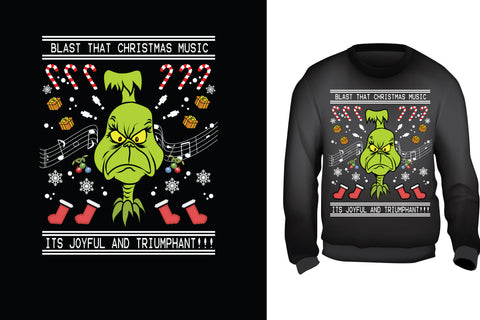 Red Alpha Ugly Christmas Sweater- The Grinch