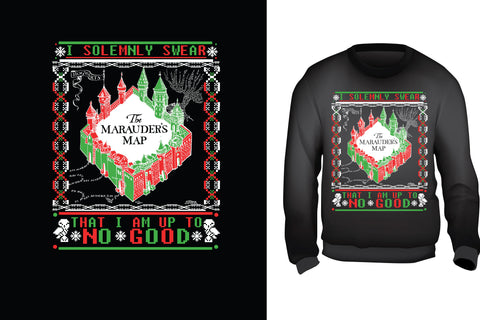 Red Alpha Ugly Christmas Sweater-Marauders Map