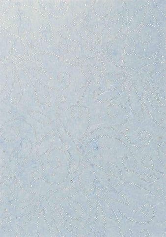 A4 - Patterned - Chiffon Precious Metals (Embossed) - Flourish - Pale Blue / Silver