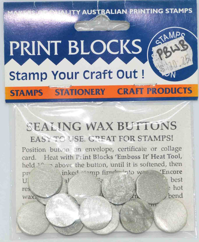 Wax Seals - Print Blocks Sealing Wax Buttons - Metallic Silver