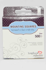 "Adhesives - Scrapbook Adhesives - Mounting Squares 500 Clear 13mm x 5mm  (1/2"" x 1/4"")."