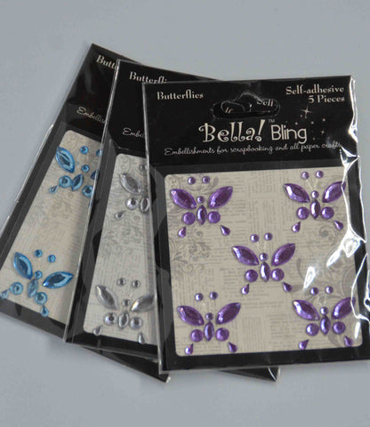 Bling - Diamantes - Coloured - Butterflies 5 pack - Click here to select colour