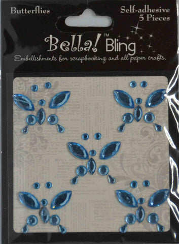 Bling - Diamantes - Coloured - Butterflies 5 pack - Blue