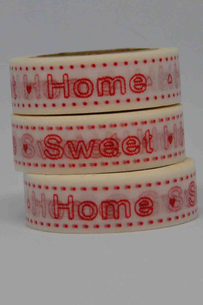 Washi Tape - Home Sweet Home - Red on White
