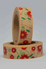Washi Tape - Flowers - Red, Yellow on Dark Cream