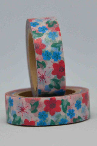 Washi Tape - Flowers / Leaves - Blue, Red, Green on White