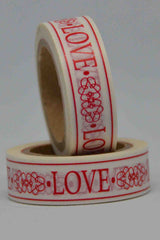 Washi Tape - Love - Filigree - Red on White