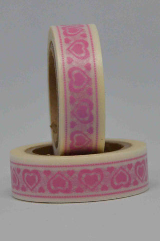 Washi Tape - Hearts - Pink on White