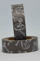 Washi Tape - Keys and Locks - White on Chocolate Brown