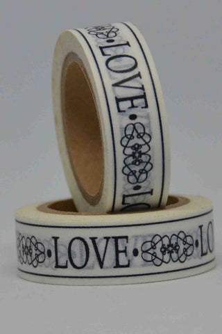 Washi Tape - Love - Filigree - Black on White