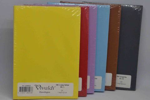 Envelopes - C6 - Coloured and White - Vivaldi Plain - 15 Pack - Click here to choose colour