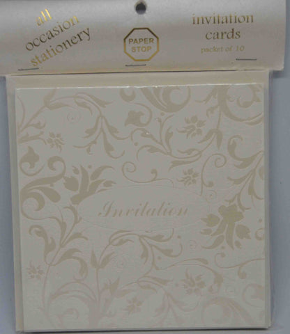 Preprinted Invitations - Square Cream / Pearlescent Floral - 10 Pack
