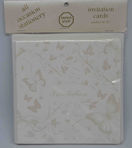 Preprinted Invitations - Square White / Pearlescent Butterflies - 10 Pack