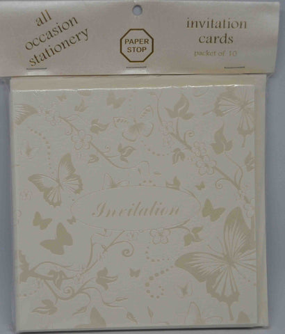 Preprinted Invitations - Square Textured Cream / Pearlescent Butterflies - 10 Pack