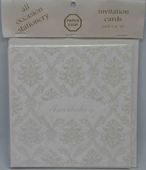 Preprinted Invitations - Square White / Pearlescent Damask - 10 Pack