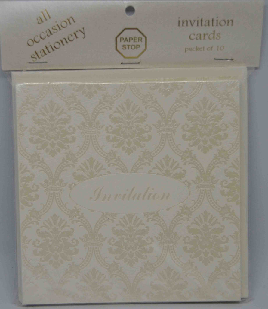 Preprinted Invitations - Square Cream / Pearlescent Damask - 10 Pack