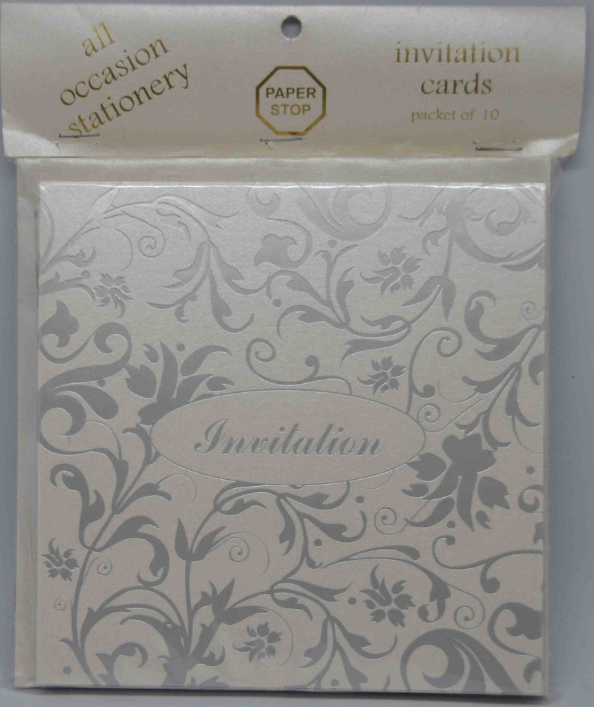 Preprinted Invitations - Square Metallic White / Silver Floral - 10 Pack