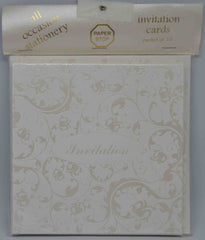 Specials - Preprinted Invitations - Square White / Pearlescent Floral - 10 Pack