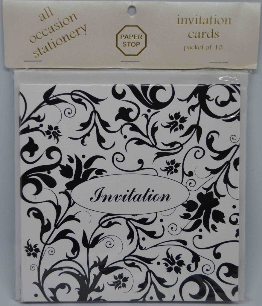 Preprinted Invitations - Square Metallic White / Black Floral - 10 Pack