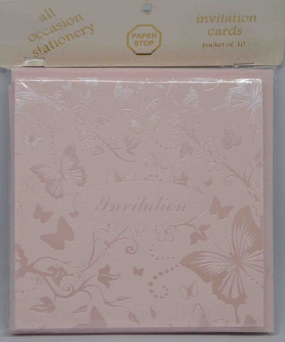 Specials - Preprinted Invitations - Square Pale Pink / Pearlescent Butterflies - 10 Pack